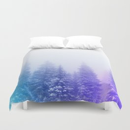 Blue and Purple Pines Duvet Cover