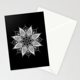 Black and White Flower Mandala Stationery Cards