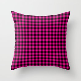 Classic Hot Pink Country Cottage Summer Buffalo Plaid Throw Pillow