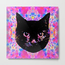 Glitch Streak Quad Cat Metal Print