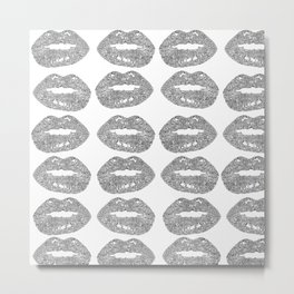 Doodle bitten lip pattern Metal Print