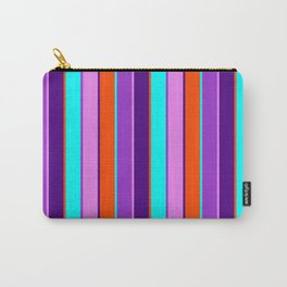 Vibrant Dark Orchid, Aqua, Red, Indigo & Violet Colored Stripes Pattern Carry-All Pouch