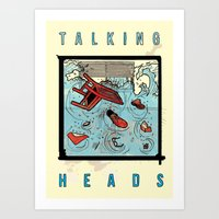 talking heads Art Prints featuring Talking Heads Limited Edition Music Poster Print by Nick Howland