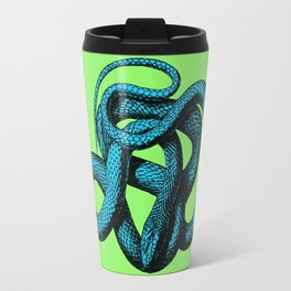 Snek 1 Snake Teal Turquoise Lime Green Travel Mug