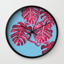 Monstera deliciosa, Swiss cheese plant, tropical, palm Wall Clock