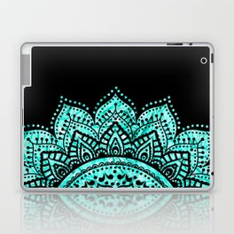 Black teal mandala Laptop & iPad Skin