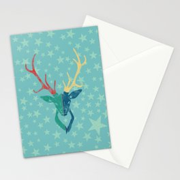 Colorful Stag (Red, Yellow, Green, Blue) Stationery Cards