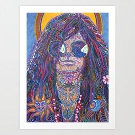 Psychedelic Sun Goddess Portrait Art Print