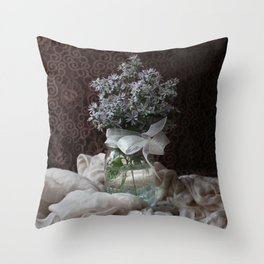 Wild Asters in a Mason Jar Throw Pillow