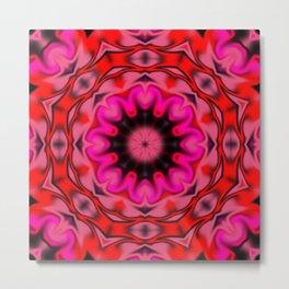 Red and Pink Kaleidoscope Metal Print