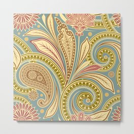 Boho Paisley and Floral Pattern Metal Print