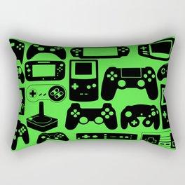 Retro Controllers - Green Rectangular Pillow