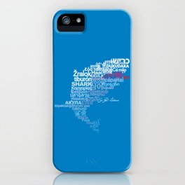 Shark in Different Languages iPhone Case