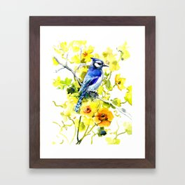 BLue Jay and Yellow Flowers Framed Art Print