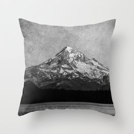 Mt Hood Black and White Vintage Nature Photography Throw Pillow