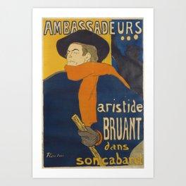 TOULOUSE-LAUTREC 1892 - Ambassadeurs - Aristide Bruant Art Print