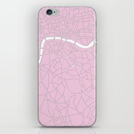 London Pink on White Street Map iPhone Skin