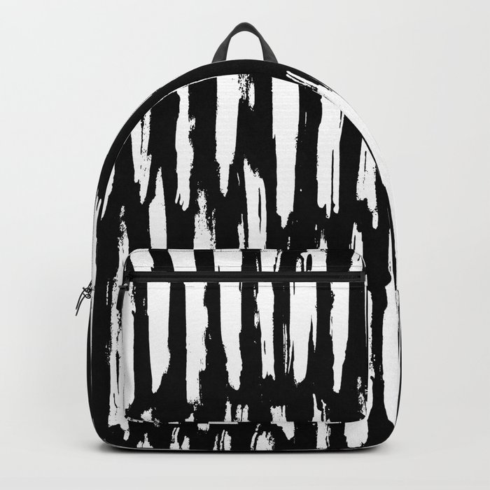 Vertical Dash White on Black Paint Stripes Backpack