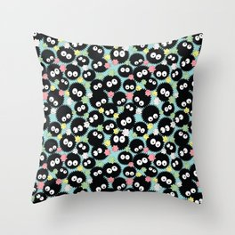 Pastel Soot Sprites with Konpeito Sugar Candy Throw Pillow