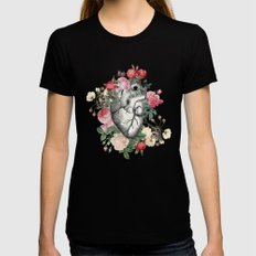 Roses for her Heart Black LARGE Womens Fitted Tee