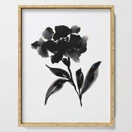 Elegant Ink Floral Serving Tray