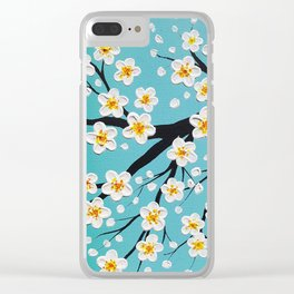 Cherry Blossoms Over a Teal Sky Clear iPhone Case