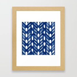 Indigo Geometric Shibori Pattern - Blue Chevrons on White Framed Art Print