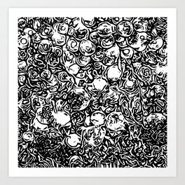 Black and white flowers Art Print