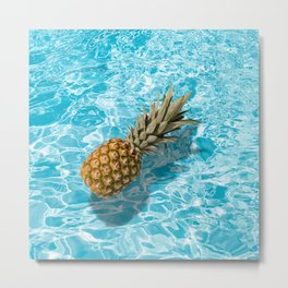 PINEAPPLE & POOL Metal Print