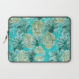 AQUA PINEAPPLE O'CLOCK Tropical Hawaiian Watercolor Laptop Sleeve