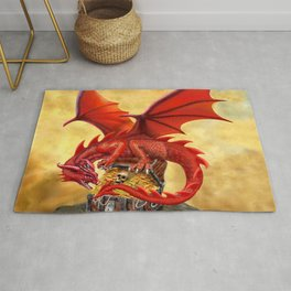 Red Dragon's Treasure Chest Rug
