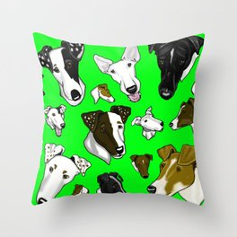 Smooth Fox Terriers green Throw Pillow