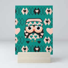Owl and heart pattern Mini Art Print