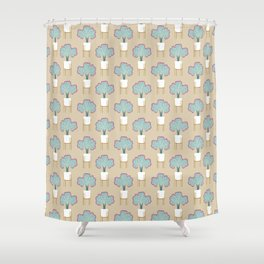 Coral Cactus in a legged planter Shower Curtain