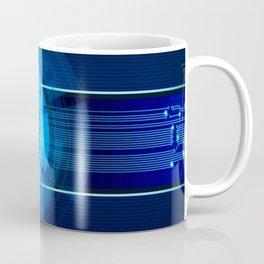 Blue Neon Light Circles Coffee Mug