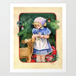 Gnome Forest Friends Art Print