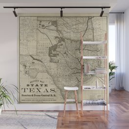 Old Map of Texas 1876 Vintage Wall map Restoration Hardware Style Map Wall Mural