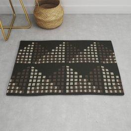 Layered Geometric Block Print in Chocolate Rug