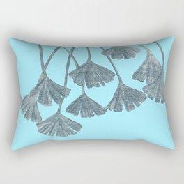 Silver Gingko Leaves Rectangular Pillow