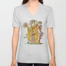 Vintage Tiger-Lily Lady Goddess Unisex V-Neck