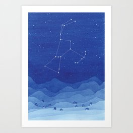 Orion Constellation, mountains Art Print