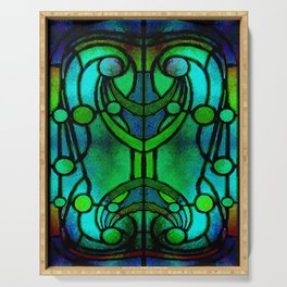 Green and Aqua Art Nouveau Stained Glass Art Serving Tray