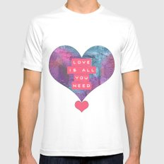 LOVE IS ALL YOU NEED White MEDIUM Mens Fitted Tee