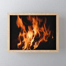 Fire on a black background Framed Mini Art Print