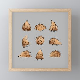 An Array of Hedgehogs - on grey Framed Mini Art Print