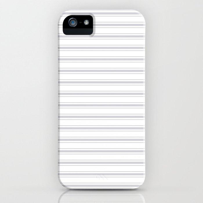 Soft Grey Mattress Ticking Wide Striped Pattern - Fall Fashion 2018 iPhone Case