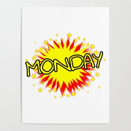 Cartoon Yellow Monday Isolated Splash Poster
