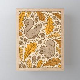 Oak & Squirrels | Autumn Yellows Palette Framed Mini Art Print