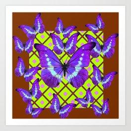 Migrating Purple Butterflies  on  Coffee Brown & Lime Color Pattern Art Print