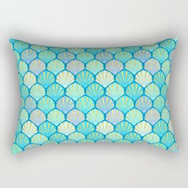 Seashells // Art Deco Shell Fans in blue, teal, turquoise & gold fit for a mermaid! Rectangular Pillow